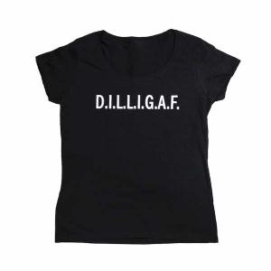 T-shirt met borduurwerk My-W Creations DILLIGAF