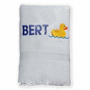Handdoek geborduurd met badeend en met naam door My-W Creations Rijen