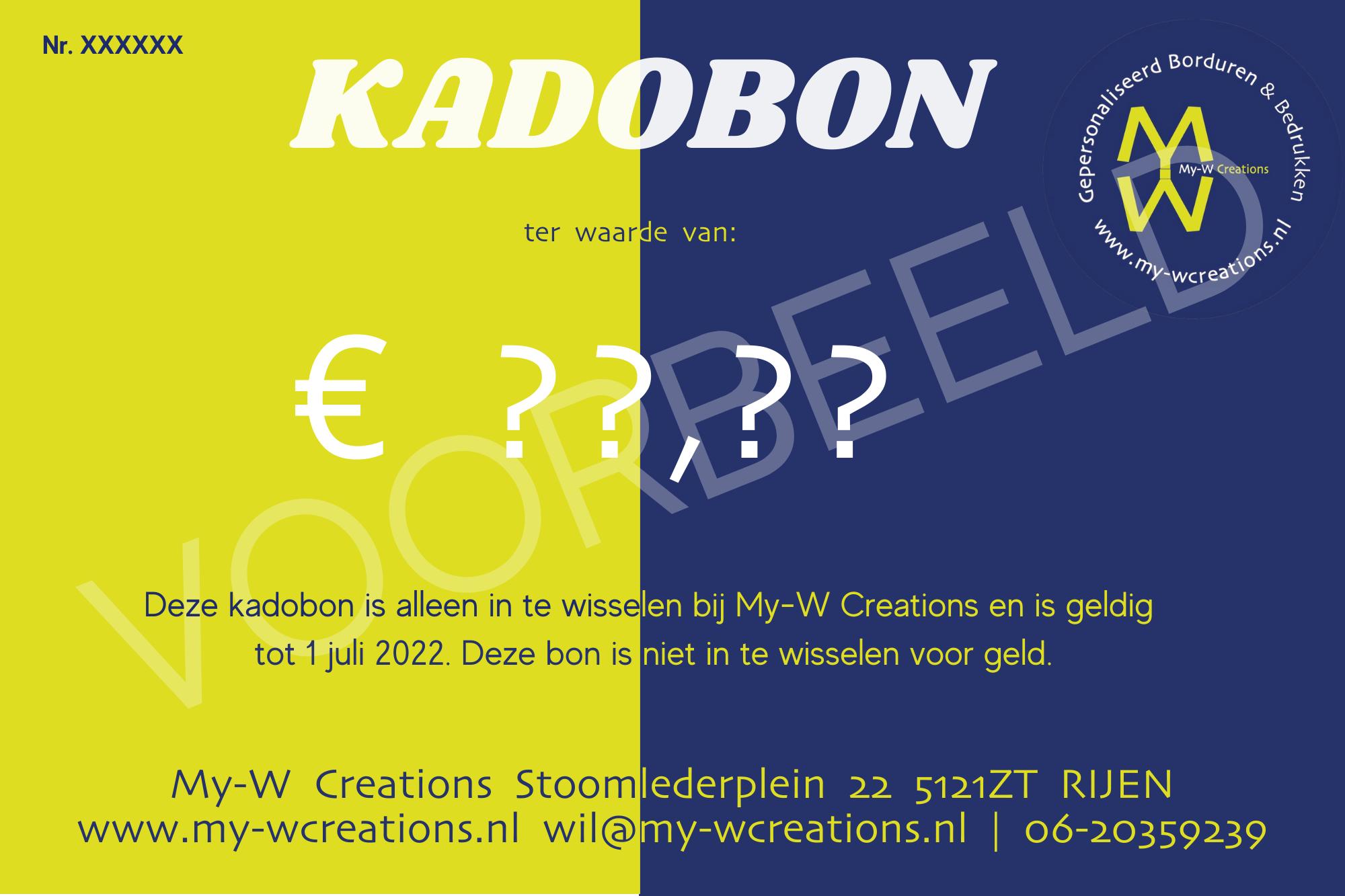 Voorbeeld kadokaart My-W Creations